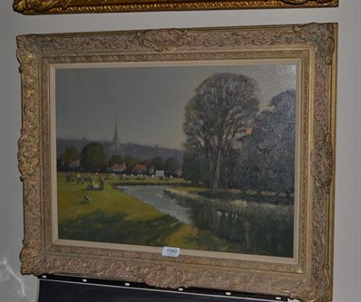Lot 1080 - William Burns (British,1923-2010), ''Closing Match, Bakewell, Derbyshire'', signed, oil on...