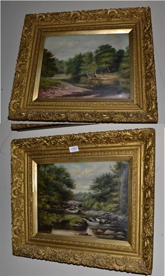 Lot 1081 - R Henry Jerman (20th century), River landscape, signed and dated 1901, oil on canvas, together with