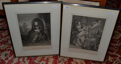 Lot 1082 - After R.E.M. Lepice, 'Decrepitude', two mid 18th century engravings (2)
