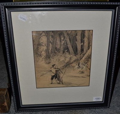Lot 1083 - Alexander Jamieson (1873-1937) Scottish, figures in a woodland, signed, pen and ink, 24cm by 22.5cm