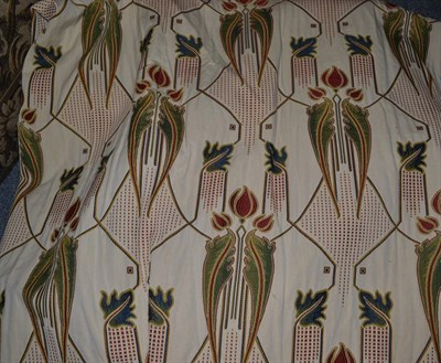 Lot 1088 - Woven floral curtains on cream with stylised flower heads, 190cm wide and 260cm drop, with blackout