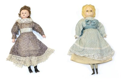 Lot 2000 - Late 19th Century Wax Shoulder and Head Doll, with composition lower arms and legs painted with...