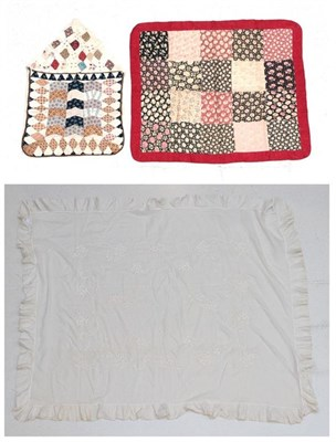 Lot 2003 - Late 19th Century Bedding and Accessories, comprising a patchwork pyjama case of envelope form,...