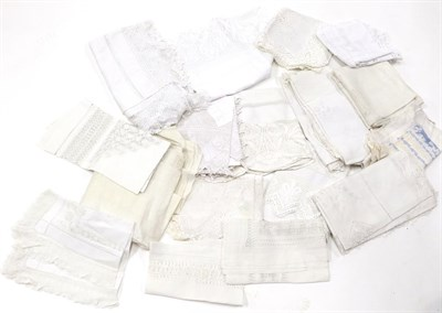 Lot 2004 - Assorted White Linen Cloths, comprising two large Chinese pina cloths with drawn thread work...