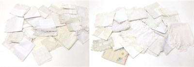 Lot 2005 - Assorted White Linen and Cotton Cloths, tray cloths with lace and crochet trims, drawn thread...