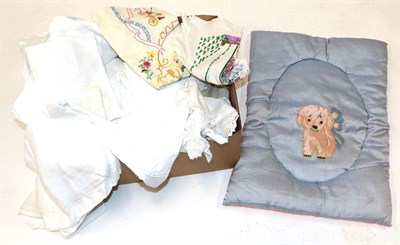 Lot 2006 - Assorted Linen, Damask Cloths, Mountmellic White Work, circa 1930s child's cot quilt with...