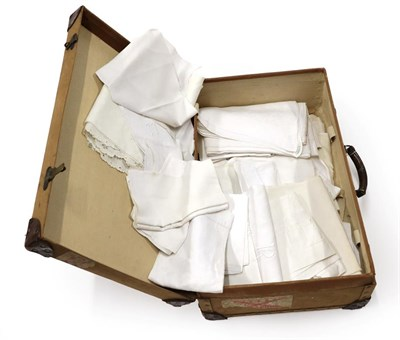 Lot 2007 - Quantity of Assorted White Linens, comprising damask table cloths including an Art Nouveau stylised
