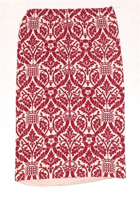 Lot 2013 - Circa 1980s Linen Union Curtain After Pugins Designs for the House of Lords, printed in red...