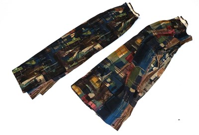 Lot 2014 - Pair of Circa 1960s Cotton Curtains 'Stones of Bath' by John Piper, a screen printed design for...