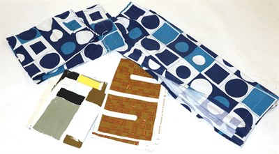 Lot 2015 - Circa 1960s Lengths of Fabrics, comprising a Hull Traders Ltd, A Time Present screen print by Olive