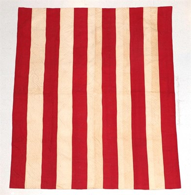 Lot 2017 - Late 19th Century Turkey Red and White Strippy Quilt, with stylish alternating rows of...