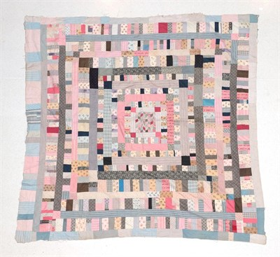 Lot 2022 - A 19th Century Patchwork Cover, comprising a central square within frames of rectangles and...