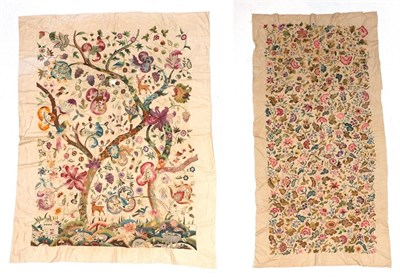 Lot 2023 - Large Circa 1940s Wool Work Panel, decorated with a central tree, with a foreground of flowers, and