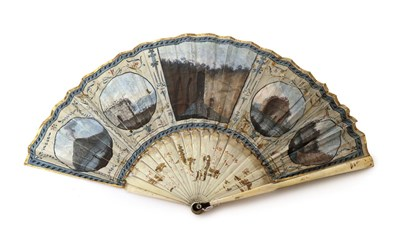 Lot 2025 - A Late 18th Century Grand Tour Fan with several Italian views and corresponding written detail, the