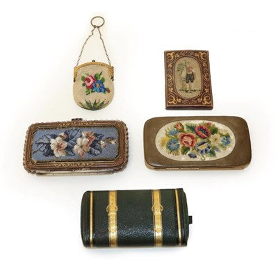 Lot 2027 - A Group of Decorative Victorian Cases, comprising a leather mounted case with gilt metal hinged...
