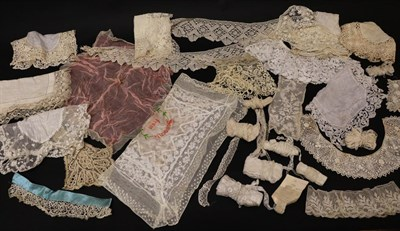 Lot 2029 - Assorted Late 19th/Early 20th Century Lace, comprising eight lace trimmed handkerchiefs on...
