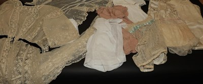 Lot 2033 - Assorted Lace Costume Accessories and Other Items, comprising toddler's cream silk dress,...