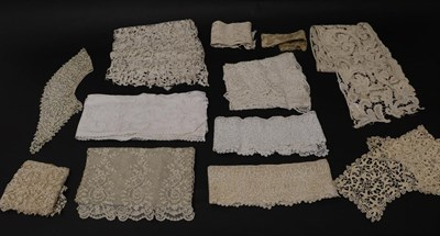 Lot 2036 - Assorted Circa 17th to 19th Century Lace, comprising an Italian lace panel, Venetian lace; 18th...