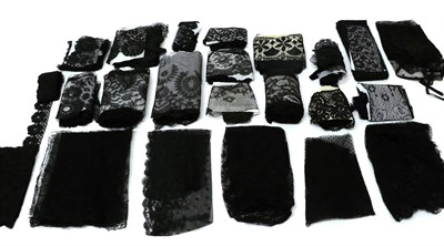Lot 2037 - Assorted 19th/20th Century Black Lace, comprising four bonnet veils, another in Chantilly lace;...