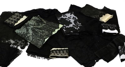 Lot 2038 - Assorted 19th/20th Century Black Lace, comprising six lace and beaded long shawls; two stoles;...
