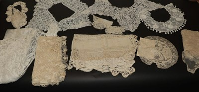 Lot 2042 - Assorted Mainly 19th Century Lace, comprising a white lace stole appliquéd with decorative...