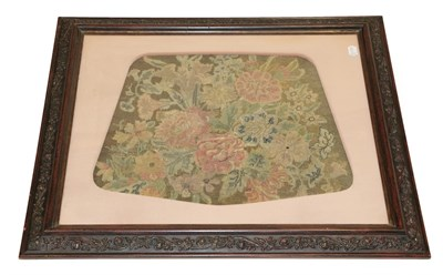 Lot 2043 - A 19th Century Wool and Silk Tapestry and Petit Point Seat Cover, decorated with pink chrysanthemum