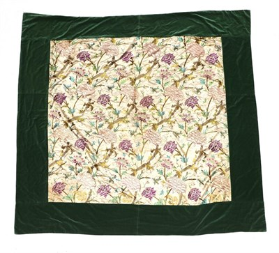 Lot 2044 - Large Early 19th Century Cream Silk Bed Cover, embroidered overall with large decorative silk...