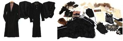 Lot 2050 - Early 20th Century Ladies' Costume, comprising a long sleeved wool dress of herringbone design,...