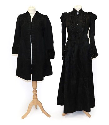 Lot 2051 - Victorian Costume, including a black figured silk two-piece of fitted bodice with long sleeves,...
