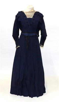 Lot 2053 - 19th Century Ladies' Two Piece Costume, comprising a blue silk bodice with woven buttons to the...