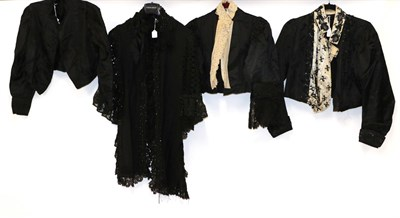 Lot 2055 - Circa Late 19th Century Ladies' Costume,  comprising a black silk shoulder cape with open braid...