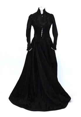Lot 2056 - 19th Century French Black Silk Two Piece Labelled Rouff Blvd Haussmann Paris, woven with clover...