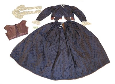 Lot 2057 - Victorian Purple Silk Brocade Two Piece Outfit with Accessories, comprising a long sleeved...
