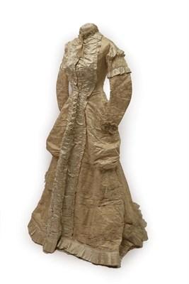 Lot 2058 - Victorian Cream Figured Silk Wedding Dress, labelled inside Miss Wharton 34 Duke Street...