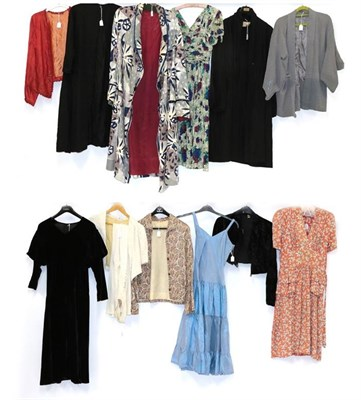 Lot 2061 - Circa 1920-30s Day and Evening Wear, comprising a short sleeved orange and grey floral day...
