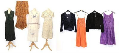 Lot 2062 - Circa 1920-30s Ladies' Costume, comprising a green sleeveless dress with patterned top, shawl...