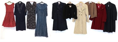 Lot 2065 - Circa 1930-40s Ladies' Clothing, comprising a John Collier blue wool long coat with side...