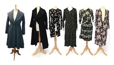 Lot 2066 - Circa 1930-50s Ladies' Costume, comprising a Sally Slade of Regent Street blue grosgrain coat...