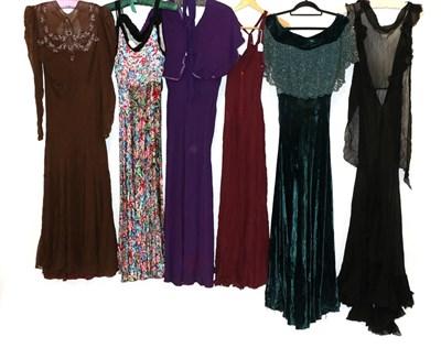 Lot 2067 - Circa 1930-40s Ladies' Eveningwear, comprising a silk floral printed bias cut evening dress, with a