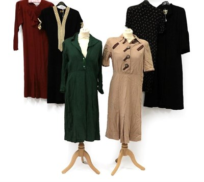 Lot 2068 - Circa 1930-40s Ladies' Day and Other Dresses, comprising a black textured short-sleeved dress...