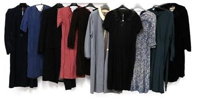 Lot 2069 - Circa 1930-50's Ladies' Clothing, comprising a black short-sleeved dress with sequin detail to...