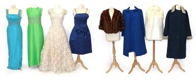 Lot 2071 - Assorted 1930-60s Clothing, comprising a Capstick and Hamer Bradford white rabbit shoulder cape...