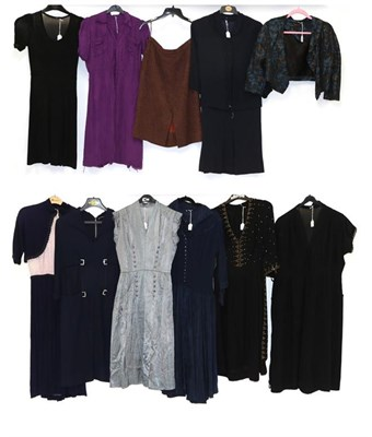 Lot 2074 - Circa 1930-40s and Later Ladies' Costume comprising Minx Modes Junior navy and pink  dress with...