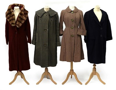Lot 2075 - Four Circa 1940-50s Ladies' Coats, comprising a Romanza of London black and white checked wool...