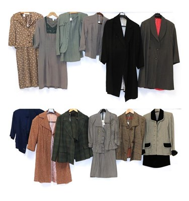 Lot 2083 - Circa 1940-50s Ladies' Day Wear, comprising an American brown two-piece suit with three large...