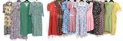 Lot 2084 - Circa 1940-50s Cotton Day Dresses and Other Items, comprising cotton floral printed long sleeve...