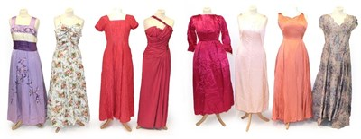 Lot 2089 - Assorted Circa 1950-60s Full Length Evening Dresses, comprising a floral cotton mounted...