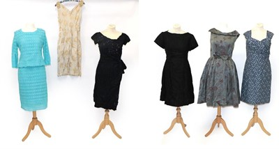 Lot 2090 - Assorted Circa 1950-60s Ladies' Cocktail and Evening Wear, comprising a Dermore of Mayfair blue...