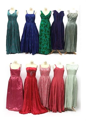 Lot 2091 - Circa 1950-60s Evening Dresses, comprising a Worth London pink satin strapless dress, pink...