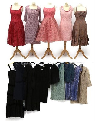 Lot 2092 - Circa 1950-60s Lace Mounted Dresses and Jackets, comprising a blue lace mounted shift dress...